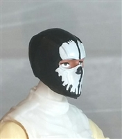 "Male Head: Balaclava BLACK Mask with White ""SPLIT SKULL"" Deco - 1:18 Scale MTF Accessory for 3-3/4"" Action Figures"