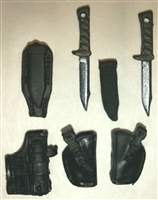 "Pistol Holster & Knife Sheath Deluxe Modular Set: BLACK Version - 1:18 Scale Modular MTF Accessories for 3-3/4"" Action Figures"