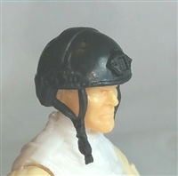 "Headgear: Half-Shell Helmet BLACK Version - 1:18 Scale Modular MTF Accessory for 3-3/4"" Action Figures"