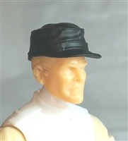 "Headgear: Fatigue Cap BLACK Version - 1:18 Scale Modular MTF Accessory for 3-3/4"" Action Figures"