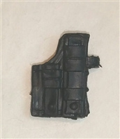 "Pistol Holster: Large Right Handed with Loop BLACK Version - 1:18 Scale Modular MTF Accessory for 3-3/4"" Action Figures"