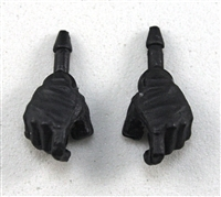 "Male Hands: Black Full Gloves Right AND Left (Pair) - 1:18 Scale MTF Accessory for 3-3/4"" Action Figures"
