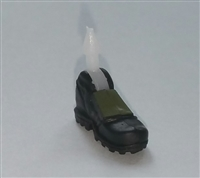 "Footwear: Left Black Boot with Green Armor - 1:18 Scale MTF Accessory for 3-3/4"" Action Figures"