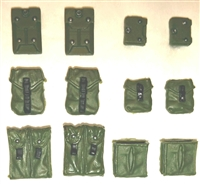 "Pouch & Pocket Deluxe Modular Set: GREEN & Black Version - 1:18 Scale Modular MTF Accessories for 3-3/4"" Action Figures"