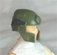 "Headgear: Tactical Helmet GREEN & Black Version - 1:18 Scale Modular MTF Accessory for 3-3/4"" Action Figures"
