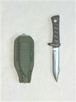 "Fighting Knife & Sheath: Large Size GREEN Version - 1:18 Scale Modular MTF Accessory for 3-3/4"" Action Figures"