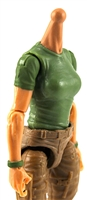 MTF Female Valkyries T-Shirt Torso ONLY (NO WAIST/LEGS): GREEN & GREEN Version with LIGHT Skin Tone - 1:18 Scale Marauder Task Force Accessory