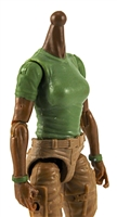 MTF Female Valkyries T-Shirt Torso ONLY (NO WAIST/LEGS): GREEN & GREEN Version with DARK Skin Tone - 1:18 Scale Marauder Task Force Accessory
