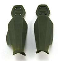 "Female Shin Armor: GREEN Version - Left & Right (Pair) - 1:18 Scale Modular MTF Valkyries Accessory for 3-3/4"" Action Figures"