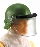 "Headgear: Swat RIOT Helmet with Visor ""Face Shield"" GREEN Version - 1:18 Scale Modular MTF Accessory for 3-3/4"" Action Figures"