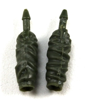 "Female Forearms: GREEN Cloth Forearms (NO Armor) - Right AND Left (Pair) - 1:18 Scale MTF Vakyries Accessory for 3-3/4"" Action Figures"