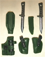 "Pistol Holster & Knife Sheath Deluxe Modular Set: DARK GREEN Version - 1:18 Scale Modular MTF Accessories for 3-3/4"" Action Figures"