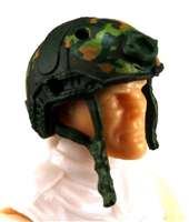 "Headgear: Half-Shell Helmet DARK GREEN CAMO Version - 1:18 Scale Modular MTF Accessory for 3-3/4"" Action Figures"