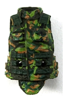 "Female Vest: High Collar Type CAMO DARK GREEN Version - 1:18 Scale Modular MTF Valkyries Accessory for 3-3/4"" Action Figures"