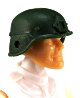 "Headgear: LWH Combat Helmet DARK GREEN Version - 1:18 Scale Modular MTF Accessory for 3-3/4"" Action Figures"