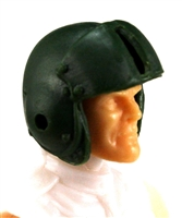 "Headgear: DARK GREEN Flight Helmet - 1:18 Scale Modular MTF Accessory for 3-3/4"" Action Figures"