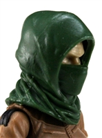 "Headgear: Hood DARK GREEN Version - 1:18 Scale Modular MTF Accessory for 3-3/4"" Action Figures"