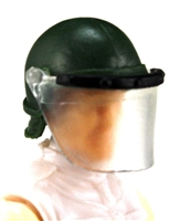 "Headgear: Swat RIOT Helmet with Visor ""Face Shield"" DARK GREEN Version - 1:18 Scale Modular MTF Accessory for 3-3/4"" Action Figures"