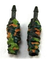 "Female Forearms: CAMO DARK GREEN Cloth Forearms (NO Armor) - Right AND Left (Pair) - 1:18 Scale MTF Vakyries Accessory for 3-3/4"" Action Figures"