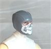 "Male Head: Balaclava GRAY Mask with White ""JAW"" Deco - 1:18 Scale MTF Accessory for 3-3/4"" Action Figures"