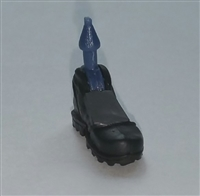 "Male Footwear: Left Black Boot with Gray Armor - 1:18 Scale MTF Accessory for 3-3/4"" Action Figures"