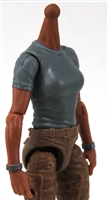 MTF Female Valkyries T-Shirt Torso ONLY (NO WAIST/LEGS): GRAY Version with TAN Skin Tone - 1:18 Scale Marauder Task Force Accessory