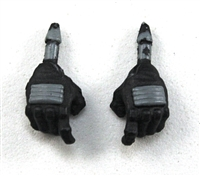 "Male Hands: Black Gloves with Gray Pad - Right AND Left (Pair) - 1:18 Scale MTF Accessory for 3-3/4"" Action Figures"