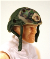 "Headgear: Half-Shell Helmet TAN/GREEN/BROWN Camo Version - 1:18 Scale Modular MTF Accessory for 3-3/4"" Action Figures"