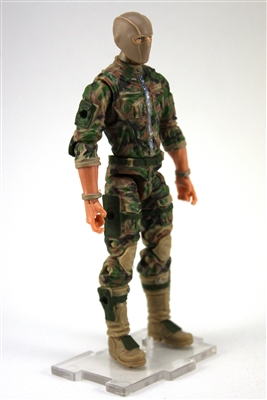 "MTF Male Trooper with Balaclava Head Tan/Green/Brown Camo ""Recon-Ops"" Light Skin Tone with CLOTH Legs - 1:18 Scale Marauder Task Force Action Figure"