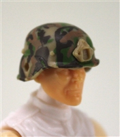 "Headgear: LWH Combat Helmet TAN/GREEN/BROWN Camo Version - 1:18 Scale Modular MTF Accessory for 3-3/4"" Action Figures"