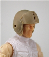 "Headgear: Light Tan Flight Helmet - 1:18 Scale Modular MTF Accessory for 3-3/4"" Action Figures"