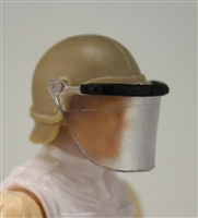 "Headgear: Swat RIOT Helmet with Visor ""Face Shield"" LIGHT TAN Version - 1:18 Scale Modular MTF Accessory for 3-3/4"" Action Figures"