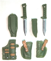 "Pistol Holster & Knife Sheath Deluxe Modular Set: GREEN & Brown Version - 1:18 Scale Modular MTF Accessories for 3-3/4"" Action Figures"