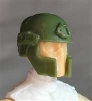 "Headgear: Tactical Helmet GREEN & Brown Version - 1:18 Scale Modular MTF Accessory for 3-3/4"" Action Figures"