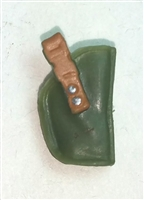 "Pistol Holster: Small  Right Handed GREEN & Brown Version - 1:18 Scale Modular MTF Accessory for 3-3/4"" Action Figures"
