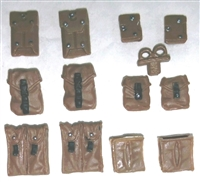 "Pouch & Pocket Deluxe Modular Set: BROWN Version - 1:18 Scale Modular MTF Accessories for 3-3/4"" Action Figures"