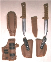 "Pistol Holster & Knife Sheath Deluxe Modular Set: BROWN Version - 1:18 Scale Modular MTF Accessories for 3-3/4"" Action Figures"
