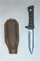 "Fighting Knife & Sheath: Large Size BROWN Version - 1:18 Scale Modular MTF Accessory for 3-3/4"" Action Figures"