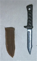"Fighting Knife & Sheath: Small Size BROWN Version - 1:18 Scale Modular MTF Accessory for 3-3/4"" Action Figures"