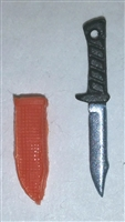 "Fighting Knife & Sheath: Small Size ORANGE Version - 1:18 Scale Modular MTF Accessory for 3-3/4"" Action Figures"