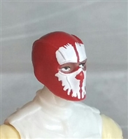 "Male Head: Balaclava RED Mask with White ""SPLIT SKULL"" Deco - 1:18 Scale MTF Accessory for 3-3/4"" Action Figures"
