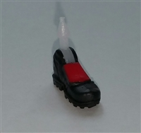 "Male Footwear: Left Black Boot with Red Armor - 1:18 Scale MTF Accessory for 3-3/4"" Action Figures"