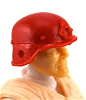 "Headgear: LWH Combat Helmet RED Version - 1:18 Scale Modular MTF Accessory for 3-3/4"" Action Figures"
