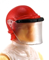 "Headgear: Swat RIOT Helmet with Visor ""Face Shield"" RED Version - 1:18 Scale Modular MTF Accessory for 3-3/4"" Action Figures"