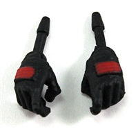 "Female Hands: BLACK Gloves with RED Pads - Right AND Left (Pair) - 1:18 Scale MTF Valkyries Accessory for 3-3/4"" Action Figures"