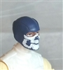 "Male Head: Balaclava BLUE Mask with White ""JAW"" Deco - 1:18 Scale MTF Accessory for 3-3/4"" Action Figures"