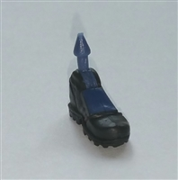 "Male Footwear: Left Black Boot with Blue Armor - 1:18 Scale MTF Accessory for 3-3/4"" Action Figures"