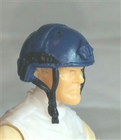 "Headgear: Half-Shell Helmet BLUE Version - 1:18 Scale Modular MTF Accessory for 3-3/4"" Action Figures"