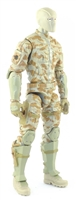 "MTF Male Trooper with Balaclava Head TAN Camo ""Desert-Ops"" Version BASIC - 1:18 Scale Marauder Task Force Action Figure"