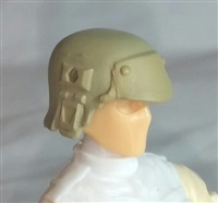 "Headgear: Armor Helmet TAN & Tan Version - 1:18 Scale Modular MTF Accessory for 3-3/4"" Action Figures"
